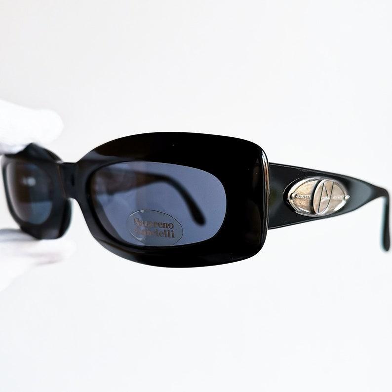 d53ca26e5e25 Black oval vintage sunglasses rare rectangular wrap wraparound | Etsy