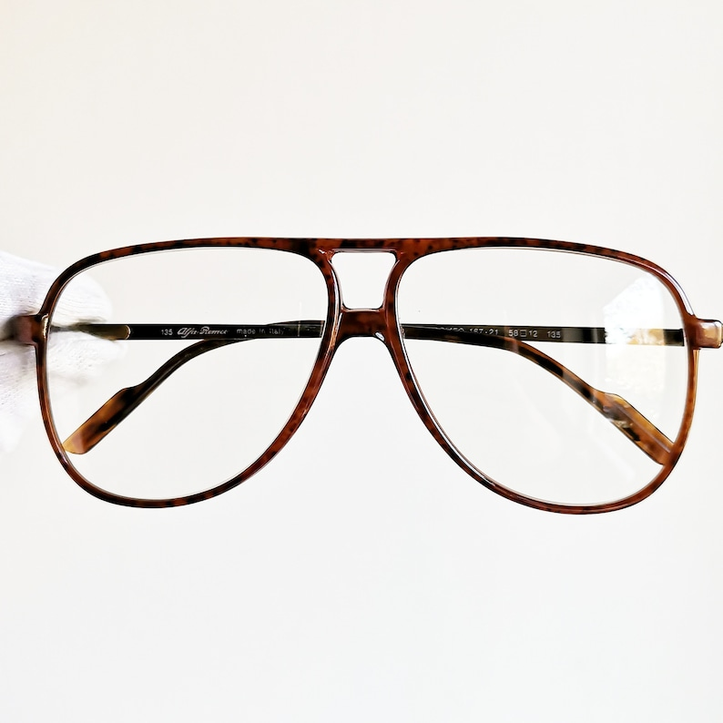 8c3a3aa851 ALFA ROMEO vintage Eyewear rare eyeglasses gold aged effect brown squared  aviator Sunglasses made in Italy frame 90s new clear lens