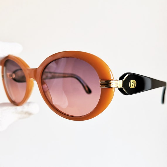f108af0a5dfb FENDI vintage Sunglasses rare oval orange black mask gold