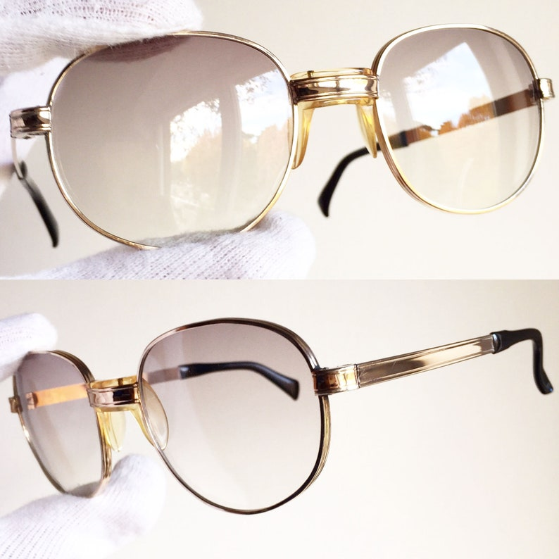 1649e207d0 SAFILO GOLD round SUNGLASSES vintage rare filled plated new