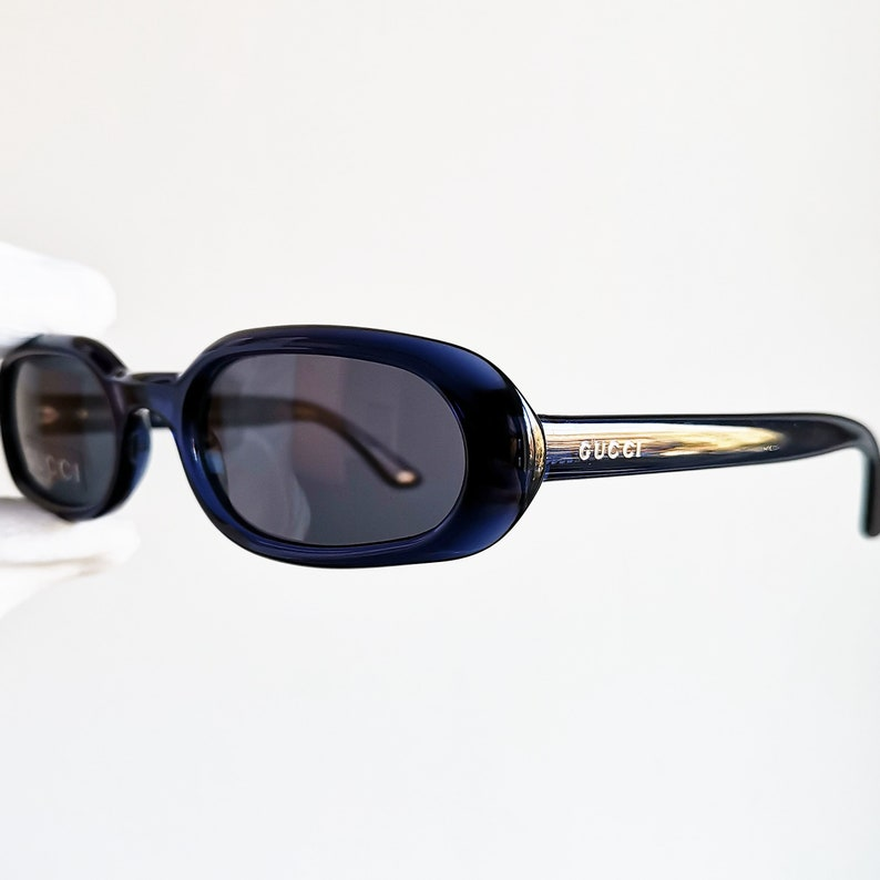 ac7608a9895 GUCCI vintage SUNGLASSES rare small oval blue palladium made