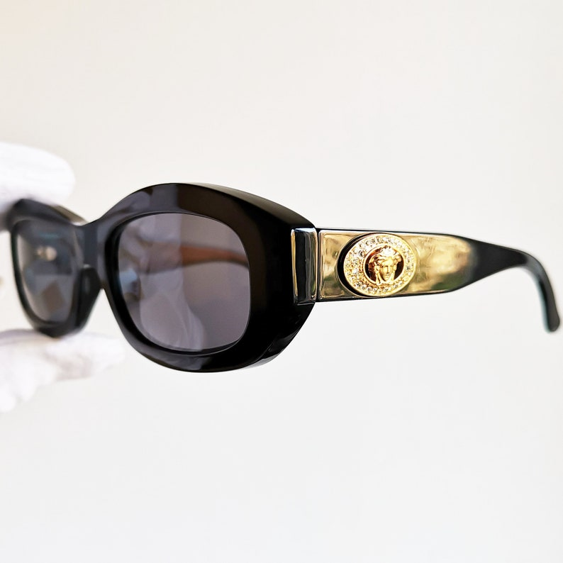 a6dedff0ce99f VERSACE vintage sunglasses rare black oval hexagon mask gold