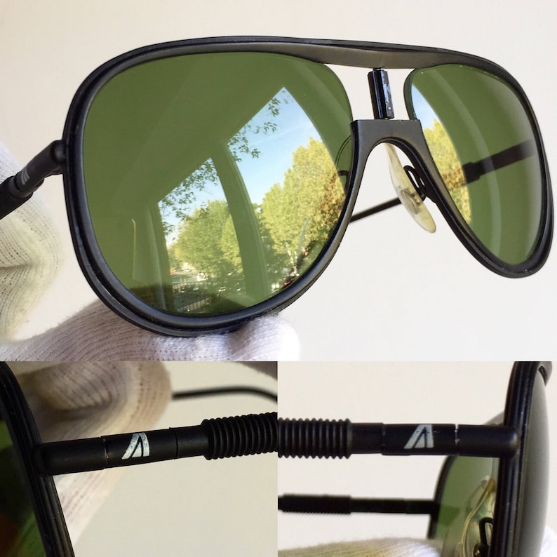 e81314ac349a2 ALITALIA vintage SUNGLASSES rare aviator matte black Classic 500 Kanye West  Karl Lagerfeld green lens supreme yeezy boost zebra