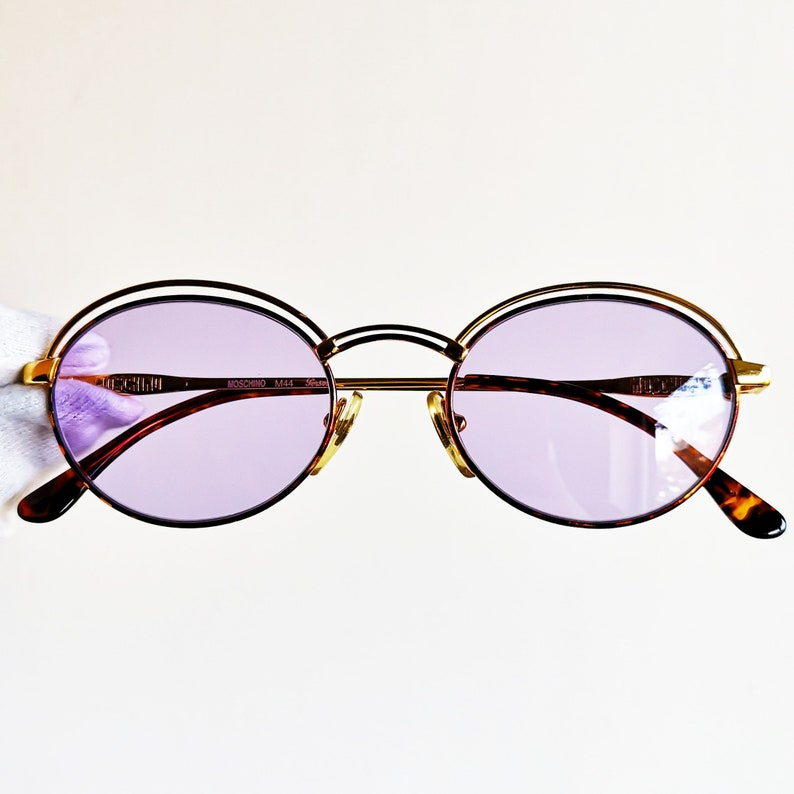 f046a138b95c0 MOSCHINO by PERSOL vintage Sunglasses rare oval round light purple lens M44  supreme designer frame gold rim steampunk Love heart new NOS
