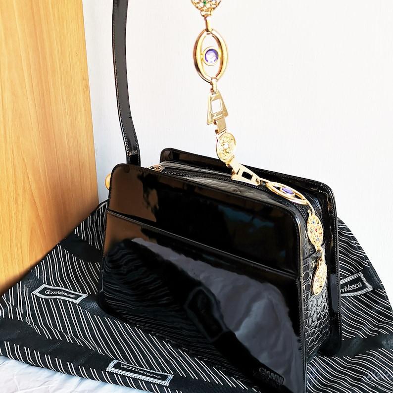 e20306dea47 VERSACE vintage bag rare gold shoulder chain greek key strap | Etsy