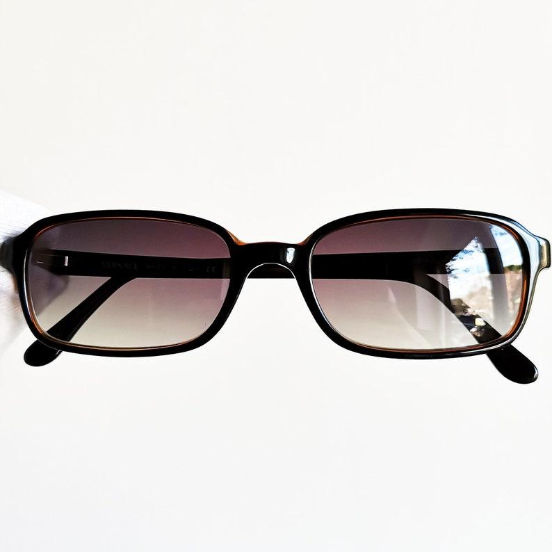 c8981d86cfea VERSACE vintage sunglasses rare black rectangular square oval