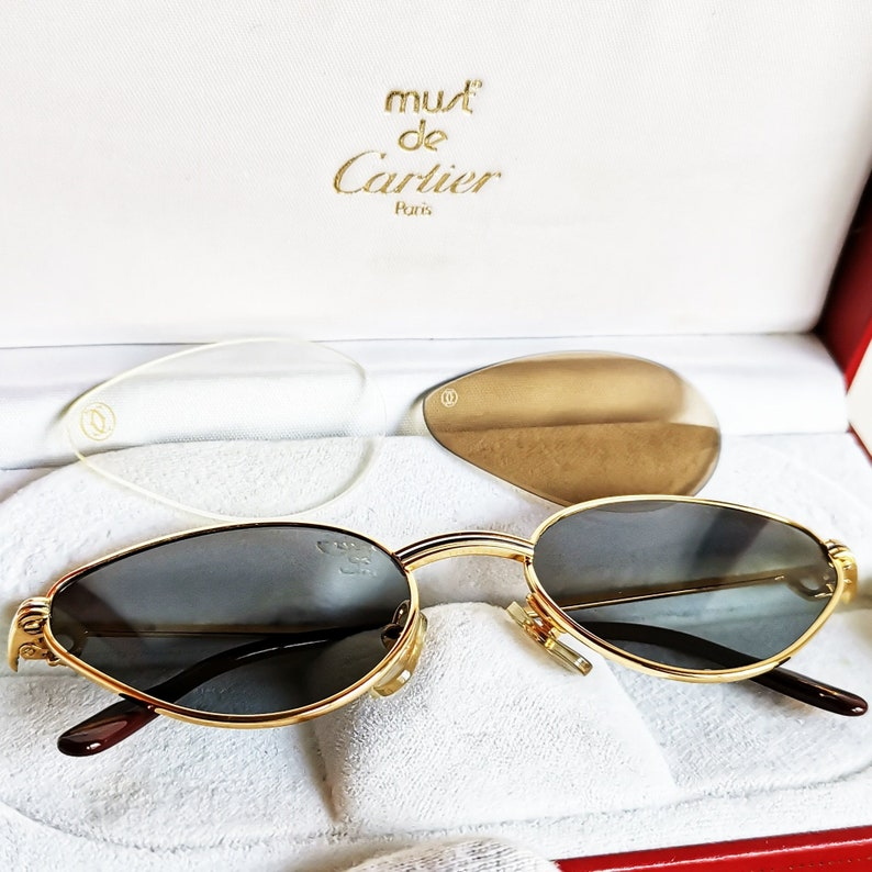 38009e31dfb1 CARTIER Gold filled plated Sunglasses Vintage oval Small cat