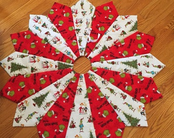 grinch christmas tree skirt 42 inch diameter quilted the grinch who stole christmas white red whoville skinny slim - Christmas Tree Skirts Etsy