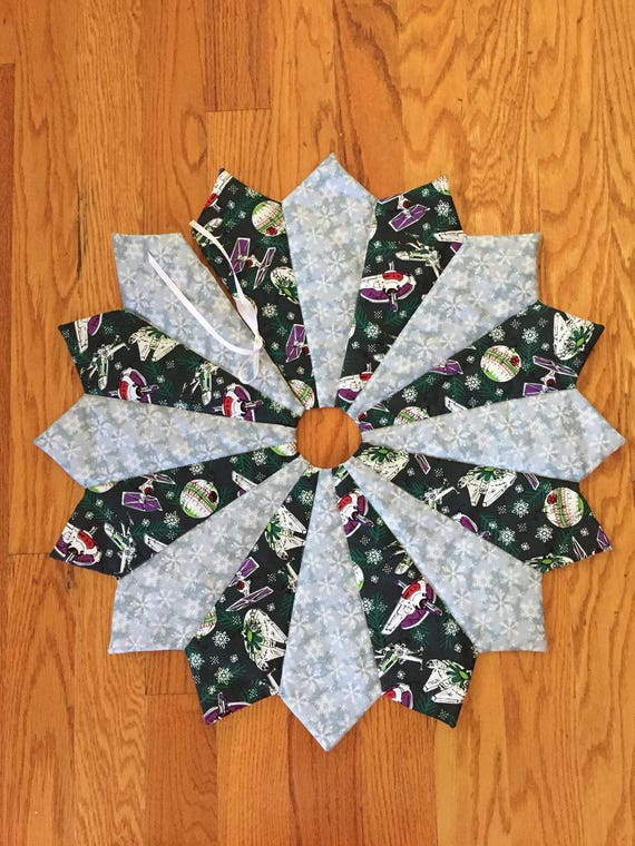 Christmas tree skirt, table top or full size, mini, Star Wars, quilted,  small, snowflake, merry the force be with you