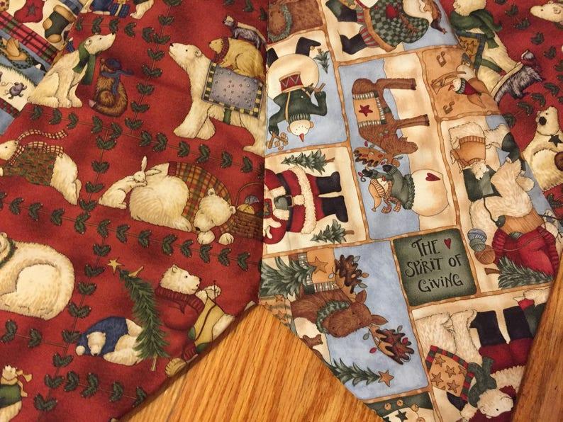blue 56 inch diameter wildlife burgundy Teresa Kogut fabric Christmas tree skirt quilted polar bear skirt