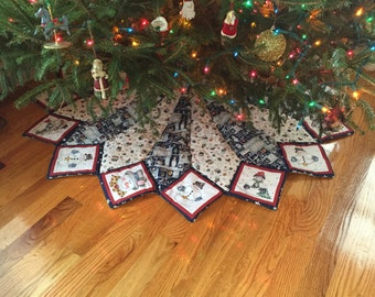 Large Christmas tree skirt, 66 inch diameter, Christmas, quilted, snowman, Dianna Marcum fabric, real tree, ex-large