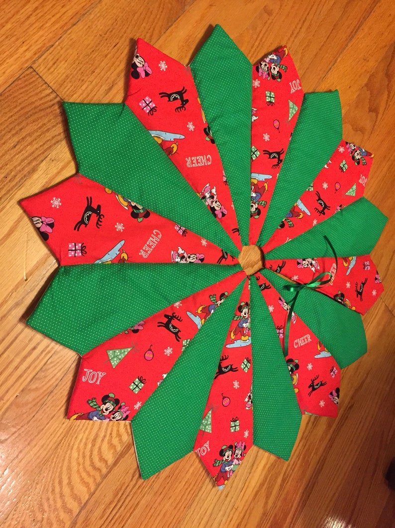 Disney Christmas Tree Skirt Quilted Red Green Mickey Etsy
