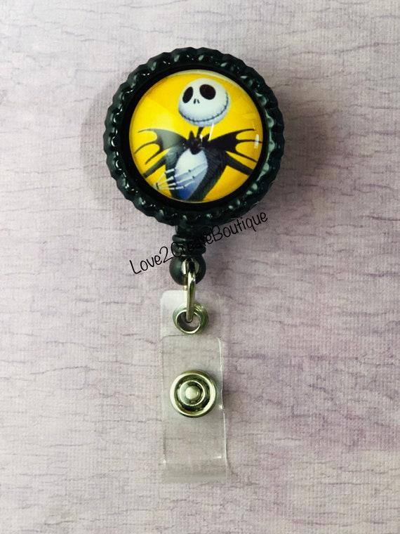 Sally /& Jack Skellington Inspired Retractable Reel ID Badge Holder Lanyard Hook