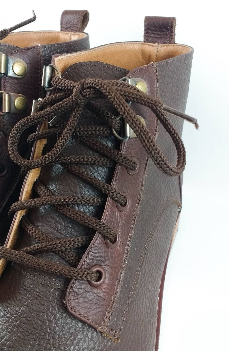 handmade leather boots leather boots custom made shoes Men/'s leather shoes men/'s shoes tied up leather boots round cap toe boots
