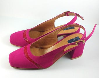 Slingbacks two tones pumps, Hot pink suede leather shoes, Comfortable square heel, square toe shoes, two tones pink leather femenine shoes