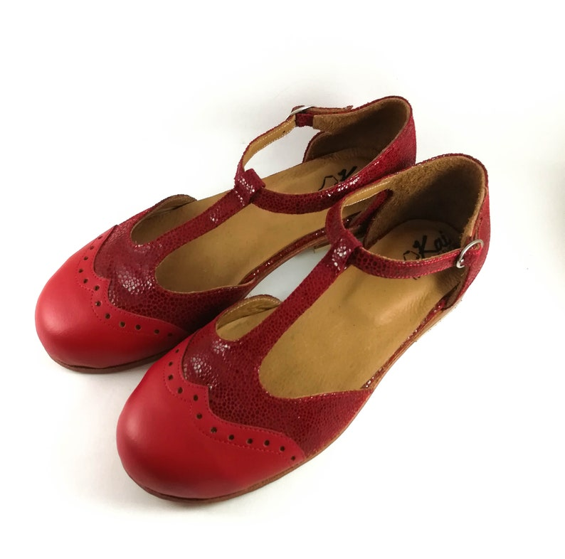 513c668ea4f Red leather Mary Jane shoes t strap leather shoes flat shoes