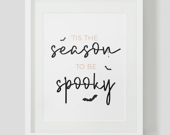 Tis The Season To Be Spooky Digital Printable Halloween Fall Bats Print At Home Downloadable Bat Hand Lettering Watercolor