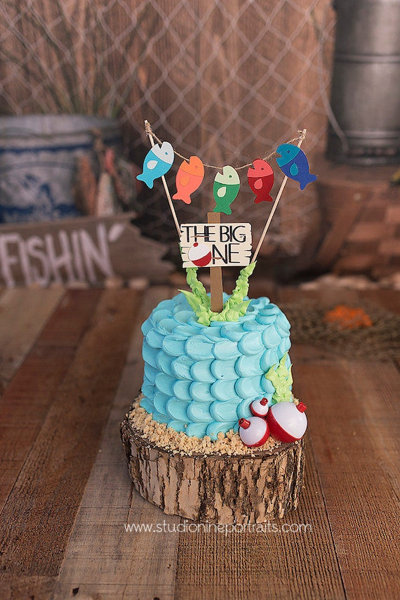 Superb Fishing First Birthday Cake Topper Gone Fishing Topper The Etsy Funny Birthday Cards Online Eattedamsfinfo