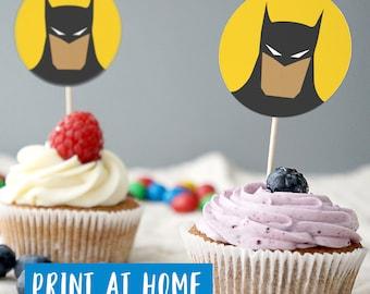 Batman Cupcake Toppers, PRINTABLE  Batman Cake Topper, Batman Party Decorations, Batman cake toppers, Digital File, Print Your Own Batman
