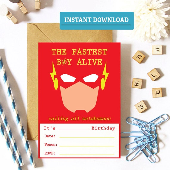 The Flash Birthday Invitation Printable Party