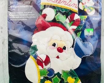 DIY Felt Christmas Stocking Cowboy Santa ~ Poinsettia ~ Santa/'s Helper ~ needle