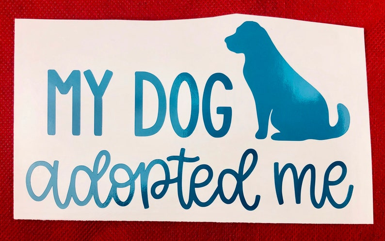 My Dog Adopted Me Teal Vinyl Car Decal New Gift image 0
