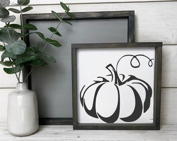 Pumpkin framed wood sign