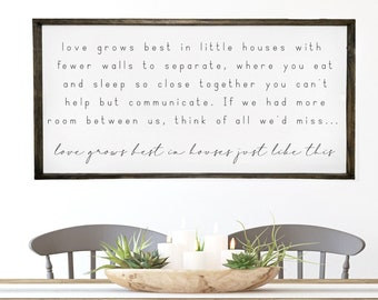 Love grows best in little houses like this, home wall sign, little houses wall decor, reclaimed wood sign, small house decor, rustic sign