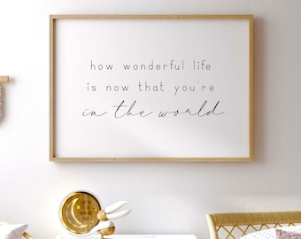 How wonderful life is now that you're in the world, Nursery sign, Wood framed sign, Kids bedroom decor, Reclaimed wood, Lyric Sign, Baby