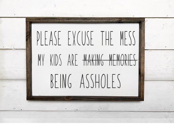 Please excuse the mess my kids are being assholes