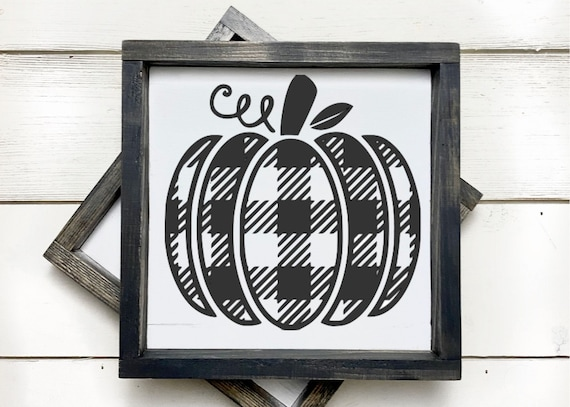 Buffalo plaid pumpkin wood sign
