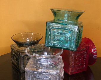 Superb Set 4 Original 1960s Vintage Dartington Glass Greek Key Vases by Frank Thrower