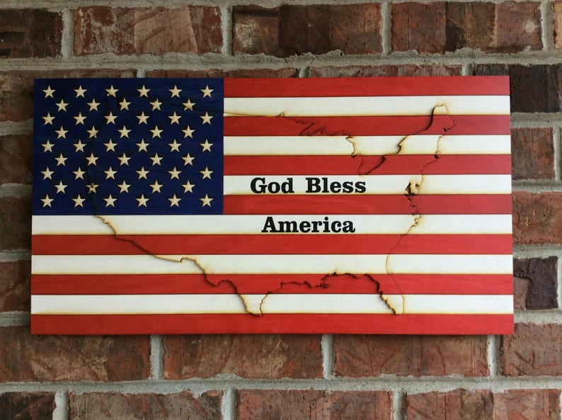 American Flag Us Flag Wooden American Flag Wooden Us Etsy - American-flag-us-map