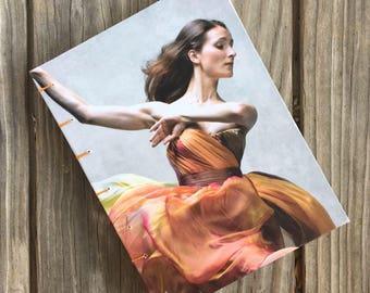 One-of-a-Kind, Hand-bound Dust Jacket Notebook/Sketchbook - Contemporary Dance, orange