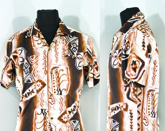 f8bff898 1960s Barkcloth Hawaiian Shirt by Napili, Size Small to Medium   60s Vintage  Mens Brown, Orange, and White Cotton Shirt (S, M, 41 Chest)