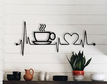 Coffee wall art, Coffee wooden wall decor, Hanging wall art coffee, Cup of coffee wall art, Coffee sign, Heart wall art, Heart wall hanging