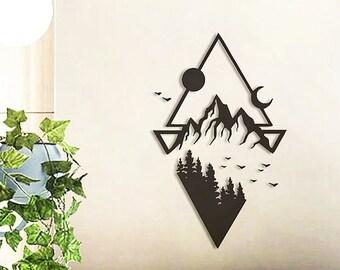 Sun & Moon wall decor, Mountain wall decor, Mountain wall art, Hanging wall art mountains, Wooden wall decor, Geometric wall art, Home decor