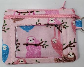 Sloth Climbing Tree Custom Zip Handbag Coin Purse Change Cash Wallet