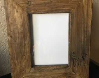 Rustic 5x7 reclaimed wood picture frame with glass