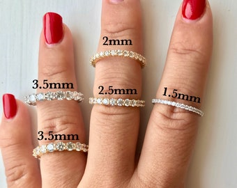 14K SOLID Gold Eternity Band With AAA CZ 14K Weddings Bands. Eternity Band. Full Eternity Stacking Ring. Mothers Day Gift. Free Shipping.