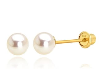 18K Yellow Gold Small Flower with 3mm Cultivated Pearl Screwback Earrings 4mm//3mm Cultivated Pearl