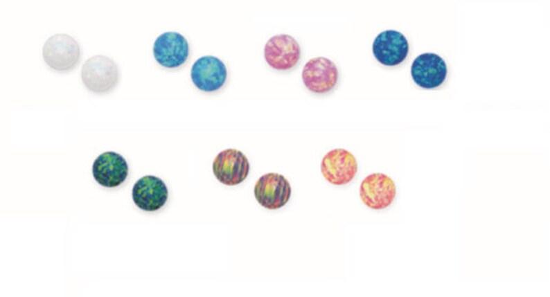 Colorful Opal. Blue Opal White Opal 14K Pure Solid Yellow Gold 6MM Opal PUSH BACKS Stud Earrings Set Pink Opal Green Opal