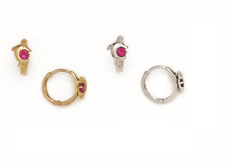 abe7d97082519 14K Pure Solid Yellow/White Gold, 14K Huggies Ruby Dolphin Fancy With  Diamond CZ Huggie Earrings Set 2x10mm FREE SHIPPING RH110P141 Gift