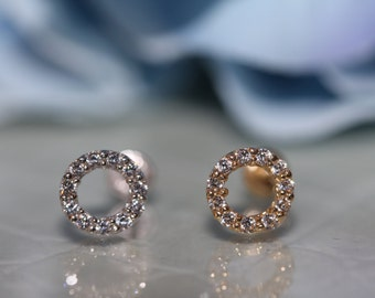 14K Solid White/Yellow Gold Round Halo Open Circle Cz Screwbacks Stud Earrings 6MM free shipping