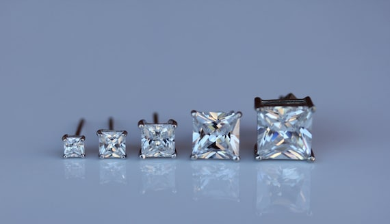 3x3 Square Princess Cut Gemstones Available in Solid 10K White or Yellow Gold 4-Prong Set Stud Earrings