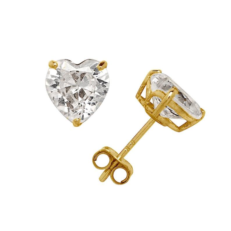White Gold Round CZ Birthstone Stud Earrings Prong Set Push Back . 14K Yellow