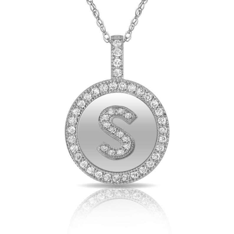 14k charm 14k Pendant 216pW122 Initial Pendant FREE SHIPPING Disc Initial Pendant 14K Pure Solid 12mm White Gold Letters Pendant