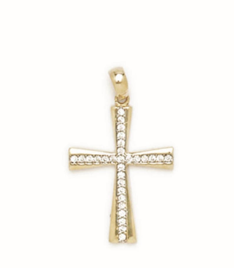 free shipping 221P242 Mothers Day Gift Cross Charm 14k White Gold Fancy Cross Pendant 14K Pure SOLID Yellow Gold 14x24mm