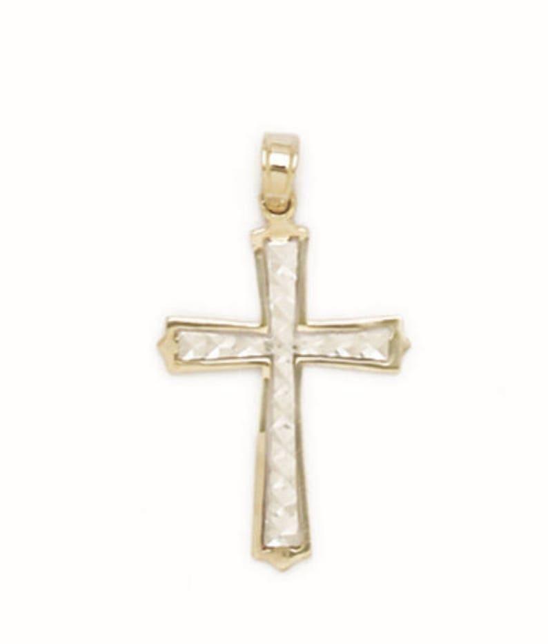 14K Solid Real White Gold Slender Cross Religious Charm Pendant 15X26mm