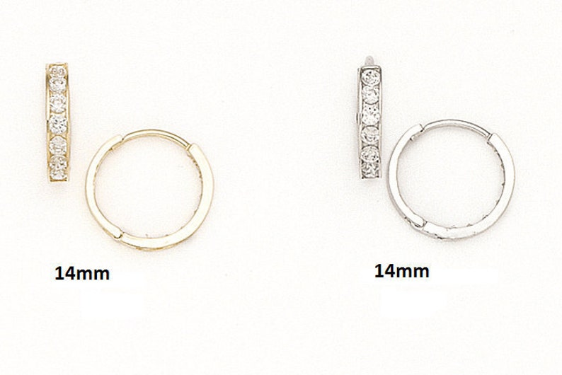 Bridesmaid Earrings #S94051 2x14mm 14K Pure Solid YellowWhite Gold 14MM Round Huggie Earrings Set With Round Cubic Zirconia